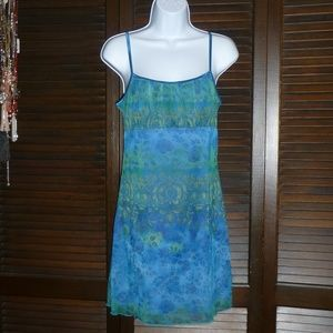 Byer Too! Pretty Blue Gold Short Summer Dress, M
